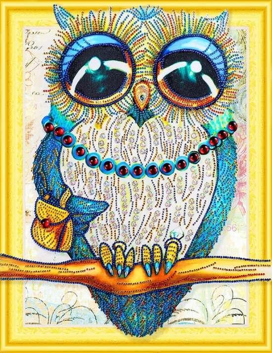 Алмазная мозаика 5D 40x50 Модница-сова с большими глазами